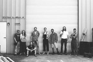 """The Dirtbag Climbers reenacting the famous """"Patagonia Crew"""" photograph. From left to right: Michael Poulos, Rachel Bonham, Nick Lanphier, Taylor Zaganas, Dustin Brown, Erick Barros,  """"Jesus"""" (real name unknown), Joel Fullerton Photo by Christi Lanphier"""