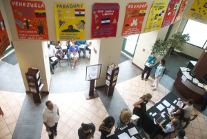 Arial view of the headquarter lobby as people wait for the next group to enter. Photo by Pablina Lopez