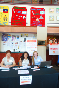 Volunteers, Sandra Ramos, Leslie Castrejon and Haley Wilken at the check-in station. Photo by Pablina Lopez