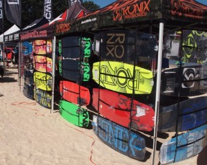 Several vendors lined up on the beach and sold various wake boarding items. Spectators could shop for anything from life vests to wake boards.