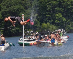 Fans filled the beaches and the water when the wake boarding competition began. Like the wake surfers, the wake boarders were also allowed three falls during their run of two passes.