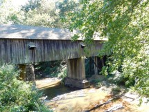 The Concord Bridge, also known as the Covered Bridge, is located a little past the trail on Concord Road. It was also burned down by Sherman's troops, but it was rebuilt and has been maintained over the years. Photo by Morgana Kennedy