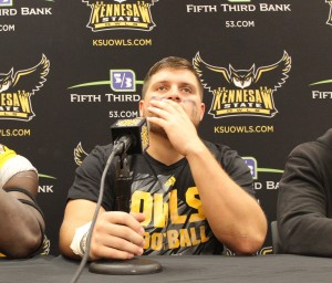Nick Perotta, defensive lineman for Kennesaw State University, at the post-game press conference on Saturday, Oct. 17.  (Photo credit: Morgana Kennedy)