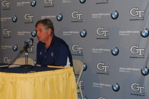A stunned Paul Johnson speaks with the media following Saturday's 31-28 defeat to Pittsburgh. (Photo by Mette Pedersen)